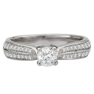 Avanti 14k White Gold 5/8ct TDW Cathedral Round Diamond Engagement Ring