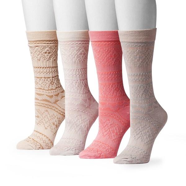 Muk Luks Women's Microfiber Crew Sock Pack (4 Pairs)