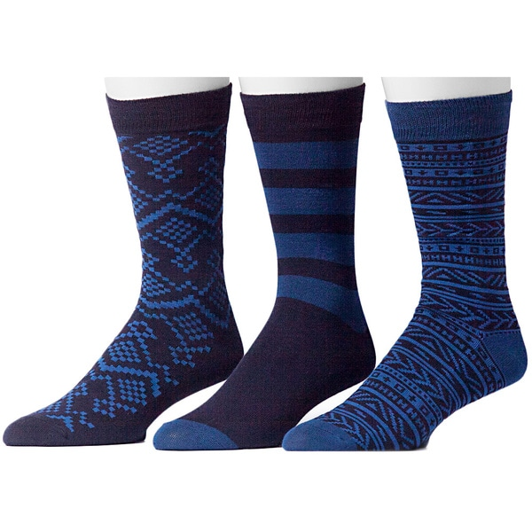 835c531b457 Shop Muk Luks Men s Navy Group Patterned Socks (3 Pairs) - Free Shipping On Orders  Over  45 - Overstock - 9597359
