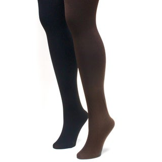 Muk Luks Women's Black and Brown Fleece Lined Tights (2 Pairs)