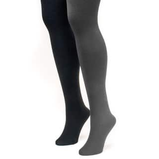 Muk Luks Women's Black and Grey Fleece Lined Tights (2 Pairs)|https://ak1.ostkcdn.com/images/products/9597371/P16781960.jpg?impolicy=medium