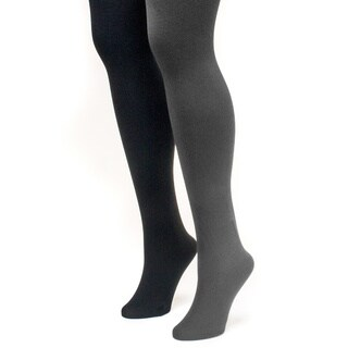 Muk Luks Women's Black and Grey Fleece Lined Tights (2 Pairs)