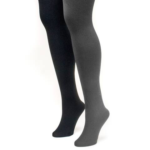 Muk Luks Womens Black and Grey Fleece Lined Tights (2 Pairs)