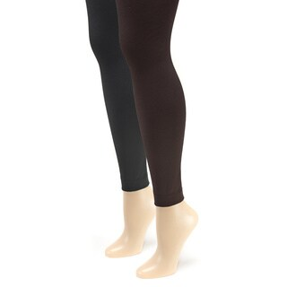 Muk Luks Women's Fleece Lined Footless Tights (2 Pairs)
