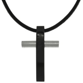 Carolina Glamour Collection Stainless Steel Two-tone Black and Silver Cross Pendant on Black Leather Cord Necklace