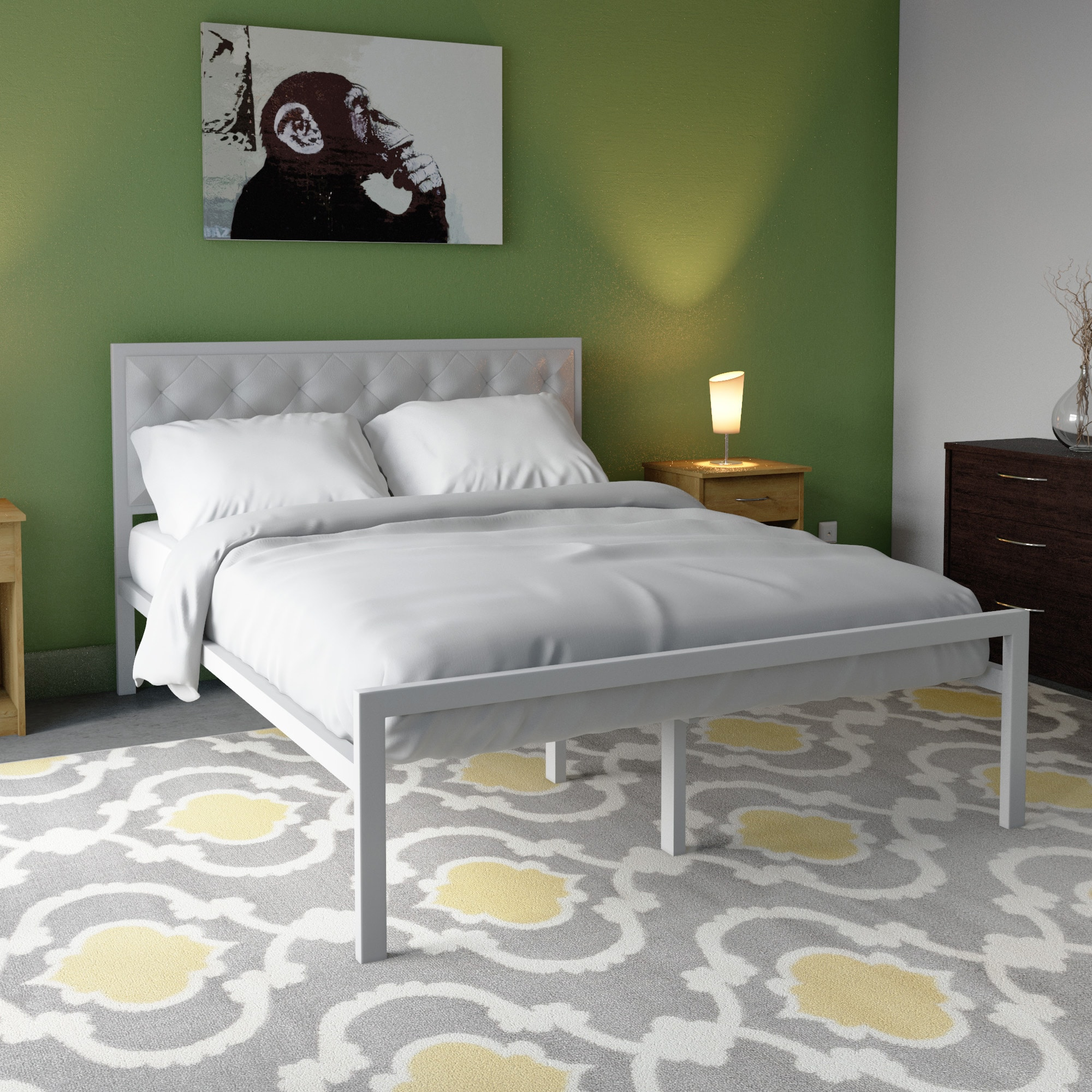Shop Silver Lake Lemoyne Queen-size Vinyl Platform Bed Frame - Free ...