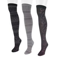 Muk Luks Women's Microfiber Black Over-the-Knee Socks (3 Pairs)