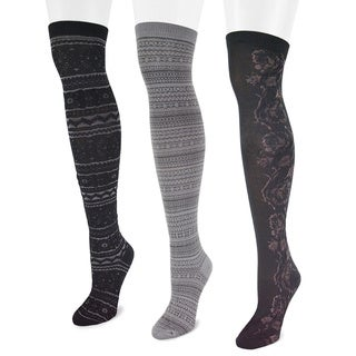 Muk Luks Women's Microfiber Black Over-the-Knee Socks (3 Pairs)