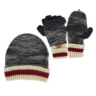Muk Luks Men's Marl Sock Stripe Cuff Cap & Flip Mittens Set