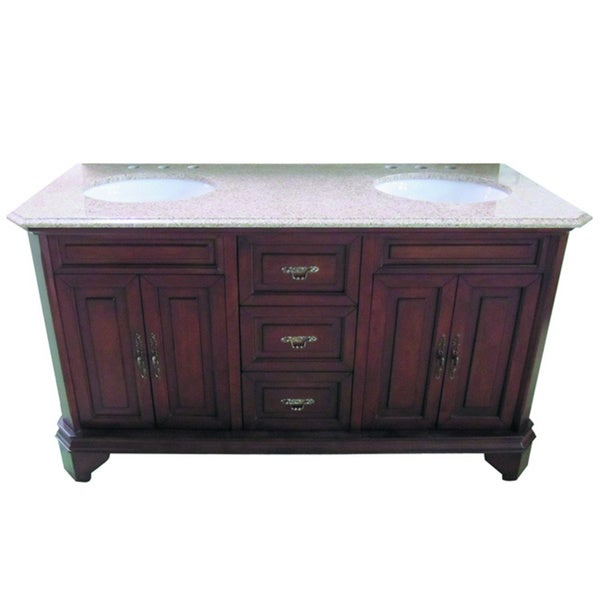 60-inch Wide Double Sink Bathroom Vanity in Brown - Free Shipping ...