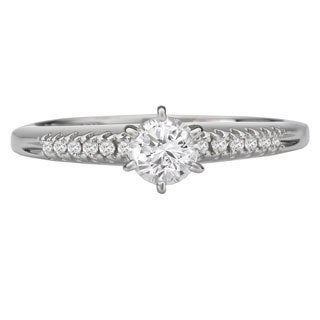 Avanti 14k White Gold 3/8ct TDW Round Diamond Engagement Ring