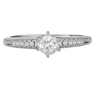 Avanti 14k White Gold 3/8ct TDW Round Diamond Engagement Ring (G-H, SI1-SI2)