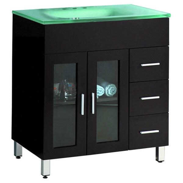 Shop 31.5-inch Wide Single Sink Black Bathroom Vanity ...