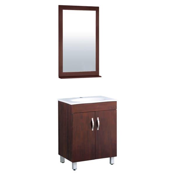 Shop 23.5-inch Wide Single Sink Brown Bathroom Vanity ...