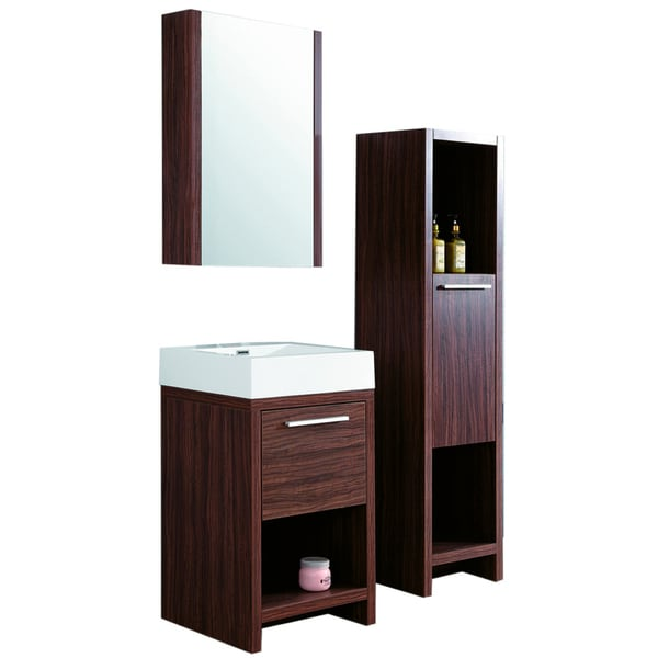 23.5-inch Wide Single Sink Bathroom Vanity in Brown - Free ...