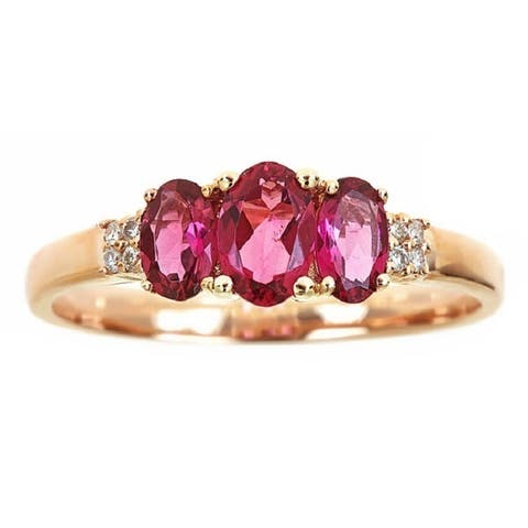 Anika and August 14K Rose Gold Oval-cut Rubellite and Diamond Accent Ring