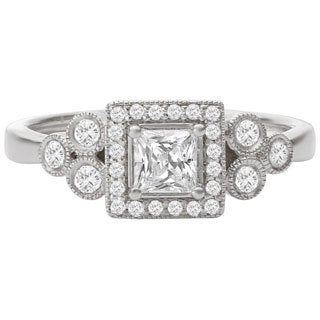Avanti 14k White Gold 1/2ct TDW Princess Diamond Engagement Ring
