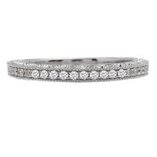 Avanti 14k White Gold 1/5ct TDW Vintage Milgrain Diamond Wedding Band (More options available)