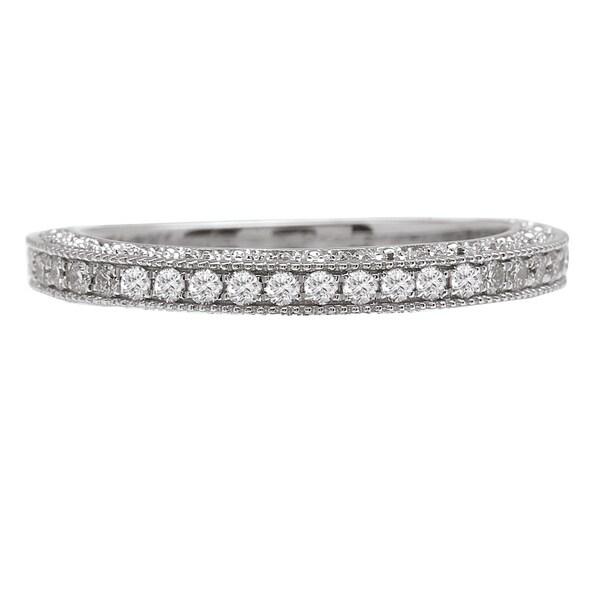 Avanti 14k White Gold 1/5ct TDW Vintage Milgrain Diamond Wedding Band