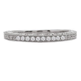 Avanti 14k White Gold 1/5ct TDW Vintage Milgrain Diamond Wedding Band