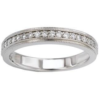 Avanti 14k White Gold 1/5ct TDW Double Milgrain Edge Diamond Wedding Band