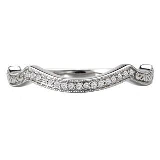 Avanti 14k White Gold 0.05ct TDW Curved Vintage Diamond Wedding Band (G-H, SI1-SI2)