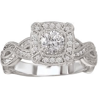 Avanti 14k White Gold 1/2ct TDW Vintage-style Diamond Engagement Ring