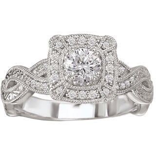 Avanti 14k White Gold 1/2ct TDW Vintage-style Diamond Engagement Ring