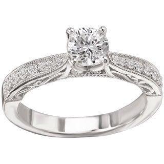 Avanti 14k White Gold 5/8ct TDW Milgrain and Scroll Detail Diamond Ring (G-H, SI1-SI2)