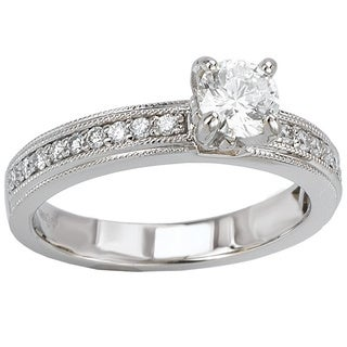 Avanti 14k White Gold 1/2ct TDW Milgrain Detail Round-cut Diamond Engagement Ring (G-H, SI1-SI2)