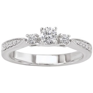 Avanti 14k White Gold 1/2ct TDW Milgrain Round-cut Three Stone Engagement Ring (G-H, SI1-SI2)