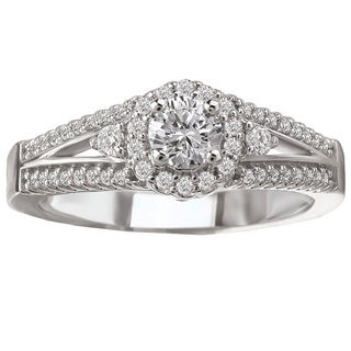 Avanti 14k White Gold 1/2ct TDW Round Halo Split Shank Diamond Ring (G-H, SI1-SI2)