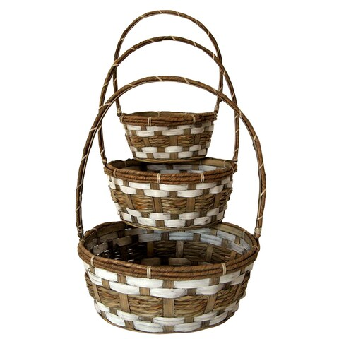 Wald Imports Brown Bamboo and Raffia Decorative Storage Basket (Set of 3)