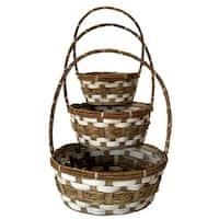 Wald Imports Brown Bamboo and Raffia Decorative Storage Basket (Set of 3)