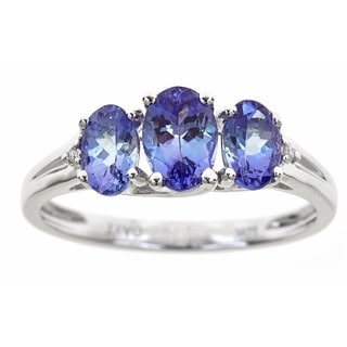 Anika and August 10K White Gold Three-stone Tanzanite and Diamond Accent Ring