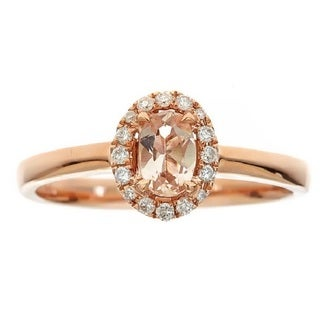 Anika And August 10k Rose Gold Oval Cut Morganite And Diamond Accent Ring