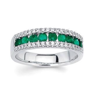 Boston Bay Diamonds 14k White Gold 1/5ct TDW Diamond and Emerald Ring (I, I1)