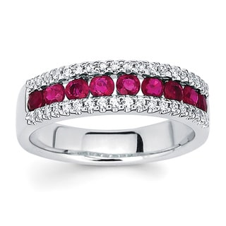 Boston Bay Diamonds 14k White Gold 1/5ct TDW Diamond and Red Ruby Ring (I-J, I1-I2)