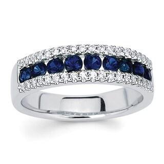Boston Bay Diamonds 14k White Gold 1/5ct TDW Diamond and Blue Sapphire Ring (I-J, I1-I2)