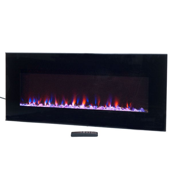 Electric Fireplace Wall Mounted, LED Fire & Ice Flame, With Remote ...