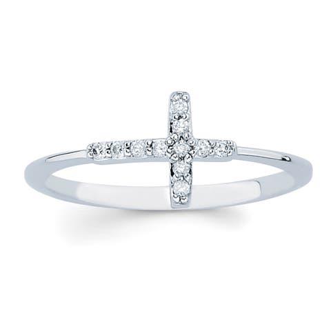 Boston Bay Diamonds 14k White Gold Diamond Accent Sideways Cross Ring