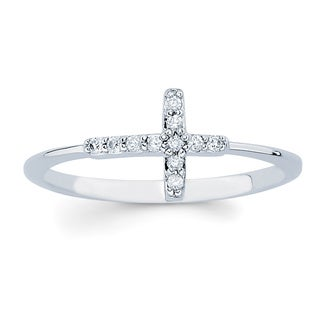 Boston Bay Diamonds 14k White Gold Diamond Accent Sideways Cross Ring