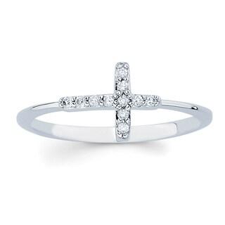 Boston Bay Diamonds 14k White Gold Diamond Accent Sideways Cross Ring (More options available)