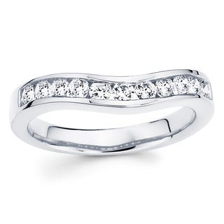 Boston Bay Diamonds 14k White Gold 3/4ct TDW Diamond Contour Wedding Band (I-J, I1-I2)