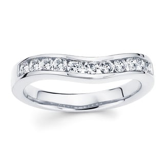 Boston Bay Diamonds 14k White Gold 1/2ct TDW Curved Diamond Wedding Band (H-I, I1-I2)