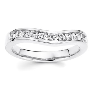 Boston Bay Diamonds 14k White Gold 1/3ct TDW Curved Diamond Wedding Band (H-I, I1-I2)