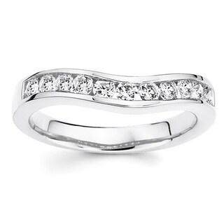 Boston Bay Diamonds 14k White Gold 1/3ct TDW Curved Diamond Wedding Band Ring