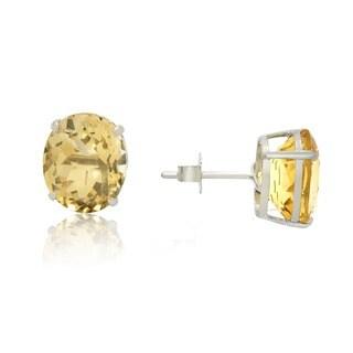 Gioelli Sterling Silver Oval Cut Basket-set Gemstone Stud Earring