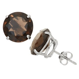 Gioelli Sterling Silver 12mm Round Cut Basket-set Gemstone Stud Earring