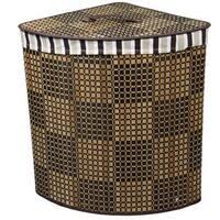 Checker Print Bow Front Bamboo Corner Laundry Basket